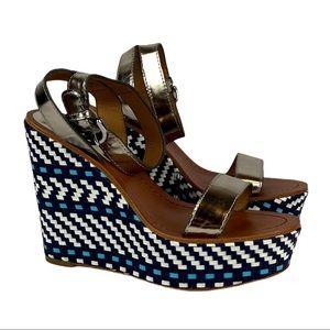 COACH 'Gemma' Metallic / Woven Ankle Strap Wedges